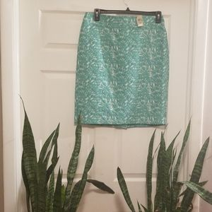 Ann Taylor Teal & Cream Skirt